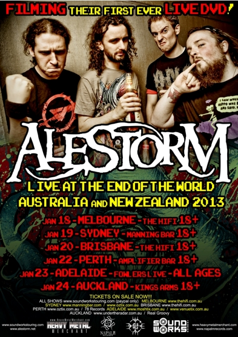 Alestorm tour Australia & New Zealand - CD's - Captain Morgan's Revenge, Leviathan, Black Sails At Midnight, Back Through Time